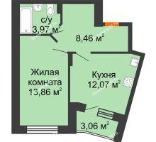 1 комнатная квартира 39,89 м² в ЖК Мандарин, дом 1 позиция 1,2 секция - планировка