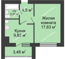 1 комнатная квартира 36,9 м² в ЖК Парк Горького, дом 62/2, №4 - планировка