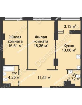 2 комнатная квартира 68,08 м² в ЖК Караваиха, дом № 5