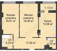 2 комнатная квартира 68,08 м² в ЖК Караваиха, дом № 5 - планировка