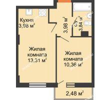 2 комнатная квартира 36,21 м², ЖК Каскад на Ленина - планировка