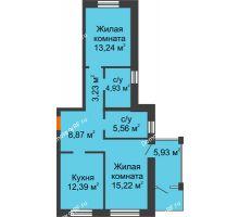 2 комнатная квартира 63,89 м² в ЖК Шоколад , дом ГП-1 - планировка