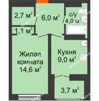 1 комнатная квартира 39,25 м² в ЖК Заречье, дом № 1, секция 1 - планировка