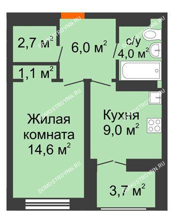 1 комнатная квартира 39,25 м² в ЖК Заречье, дом №1, секция 2