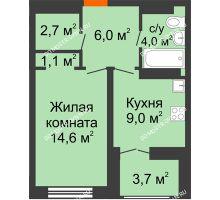 1 комнатная квартира 39,25 м² в ЖК Заречье, дом № 1 - планировка