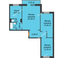 3 комнатная квартира 75,13 м² в ЖК Плодово-Ягодный, дом № 1 - планировка