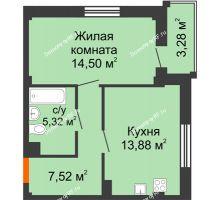 1 комнатная квартира 42,2 м² в Жилой район Берендей, дом № 14 - планировка