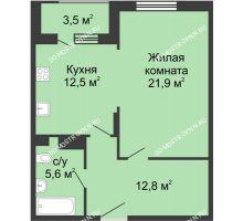 1 комнатная квартира 54,55 м² в ЖК Сердце Нижнего, дом № 35 - планировка