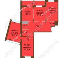 4 комнатная квартира 122 м² в ЖК Монолит, дом № 89, корп. 1, 2 - планировка