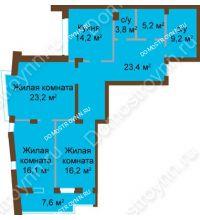 3 комнатная квартира 119,56 м², ЖК Классика - Модерн - планировка