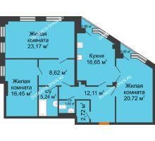 3 комнатная квартира 108,12 м² в ЖК Дом на Провиантской, дом № 12 - планировка