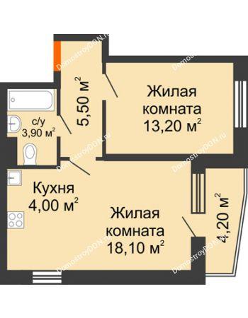 2 комнатная квартира 49,1 м² в ЖК Династия, дом Литер 2