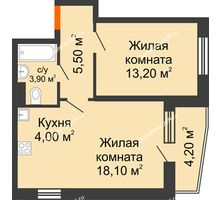 2 комнатная квартира 49,1 м² в ЖК Династия, дом Литер 2 - планировка