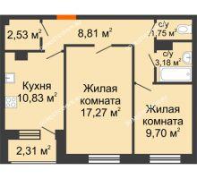 2 комнатная квартира 54,53 м² - Дом на Чаадаева