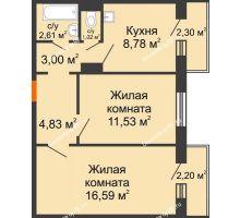 2 комнатная квартира 49,72 м² в ЖК Иннoкeнтьeвcкий, дом № 6
