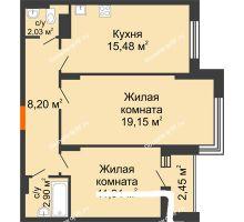 2 комнатная квартира 60,9 м² в Макрорайон Амград, дом №1 - планировка