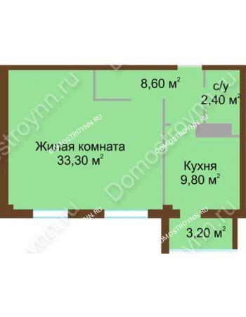 1 комнатная квартира 55,7 м² - ЖК Северный Дворик