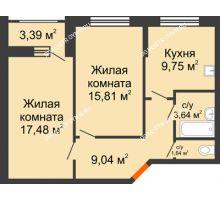 2 комнатная квартира 59,02 м², Жилой дом: ул. Сухопутная - планировка