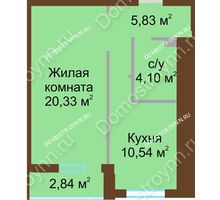 1 комнатная квартира 42,22 м² в ЖК Солнечный, дом № 1 - планировка