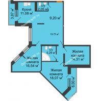 3 комнатная квартира 109,84 м² в ЖК Каскад, дом 7-8 секция - планировка