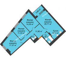 3 комнатная квартира 89,63 м² в ЖК Дом на Набережной, дом № 1 - планировка
