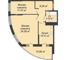 2 комнатная квартира 65,2 м² в ЖК Дружный, дом Литер 2.3 - планировка