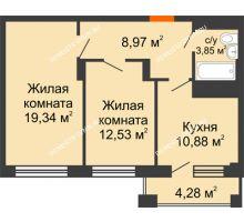 2 комнатная квартира 57,71 м², ЖД Весна - планировка