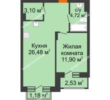 1 комнатная квартира 47,82 м², ЖК Шаляпин - планировка