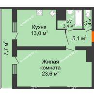 1 комнатная квартира 54,2 м², ЖК Космолет - планировка