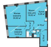 3 комнатная квартира 103,19 м², ЖК Гранд Панорама - планировка