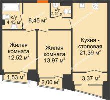 2 комнатная квартира 65,72 м², Клубный дом на Ярославской - планировка