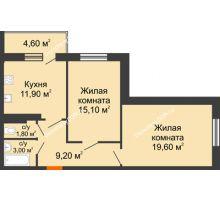 2 комнатная квартира 67,6 м² в ЖК Я, дом  Литер 2 - планировка