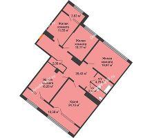 4 комнатная квартира 122,98 м², ЖК Сердце - планировка