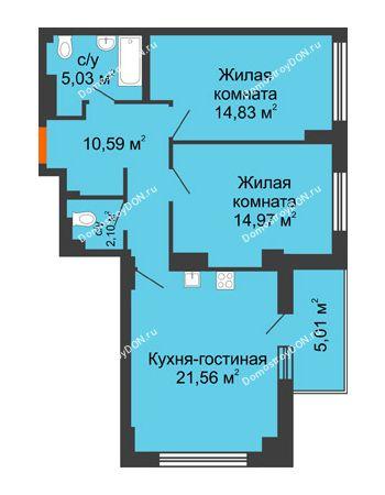 3 комнатная квартира 71,71 м² в ЖК Аврора, дом № 3