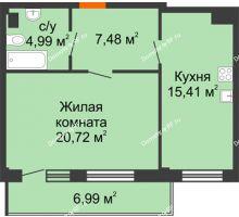 1 комнатная квартира 50,7 м² в Жилой район Берендей, дом № 14 - планировка