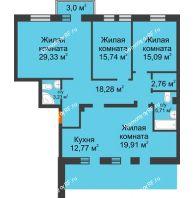 4 комнатная квартира 128,67 м² в ЖК Новоостровский, дом № 2 корпус 1 - планировка
