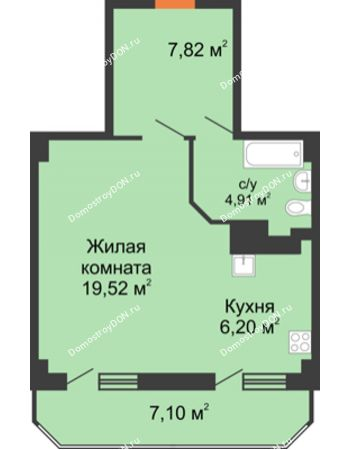 1 комнатная квартира 45,55 м² - ЖК Гармония