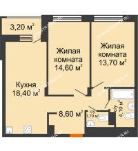 2 комнатная квартира 62,7 м² в ЖК Заречье, дом № 6 - планировка