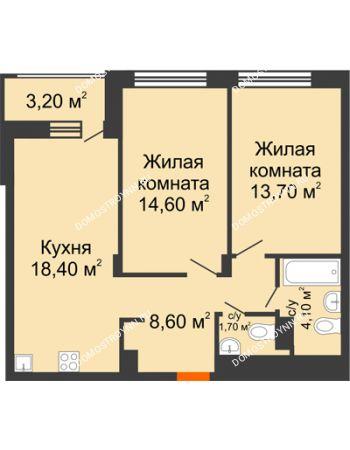 2 комнатная квартира 62,7 м² в ЖК Заречье, дом № 6