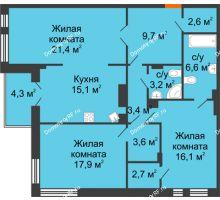 3 комнатная квартира 104,6 м² в Клубный дом Лобачевский, дом № 1 - планировка