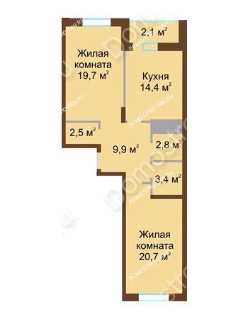 2 комнатная квартира 75,5 м² в ЖК Монолит, дом № 89, корп. 1, 2