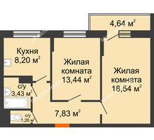 2 комнатная квартира 55,02 м², Жилой дом: ул. Сухопутная - планировка