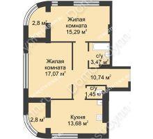 2 комнатная квартира 64,52 м² в ЖК Караваиха, дом № 5 - планировка