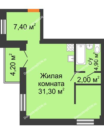 Студия 47,7 м² - ЖК Дом на 18-й Линии, 3