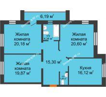3 комнатная квартира 98,25 м² в ЖК На Гнаровской, дом № 12 корпус 9 - планировка