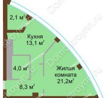 1 комнатная квартира 48,7 м² в ЖК Монолит, дом № 89, корп. 1, 2 - планировка
