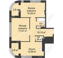 2 комнатная квартира 64,26 м² в ЖК Караваиха, дом № 5 - планировка