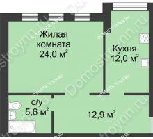 1 комнатная квартира 54,4 м² в ЖК Славянский квартал, дом № 188 - планировка