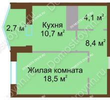 1 комнатная квартира 44,4 м² в ЖК Монолит, дом № 89, корп. 1, 2 - планировка