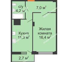 1 комнатная квартира 41,6 м² в ЖК Зенит, дом № 17 - планировка